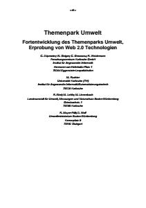 Bild der Titelseite der Publikation: Themenpark Umwelt - Fortentwicklung des Themenparks Umwelt, Erprobung von Web 2.0 Technologien