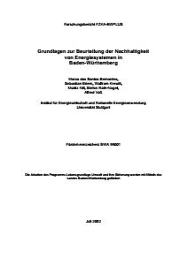 Bild der Titelseite der Publikation: Grundlagen zur Beurteilung der Nachhaltigkeit von Energiesystemen in Baden-Württemberg