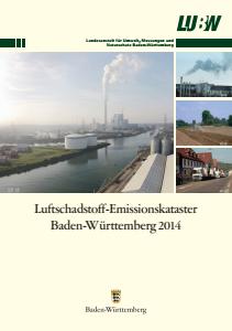 Bild der Titelseite der Publikation: Luftschadstoff-Emissionskataster Baden-Württemberg 2014