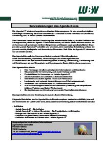 Bild der Titelseite der Publikation: Informationsblatt 001: Serviceleistungen und Materialien des Agenda-Büros