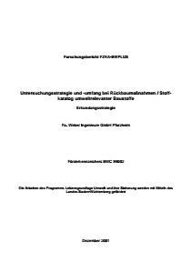 Bild der Titelseite der Publikation: Untersuchungsstrategie und -umfang bei Rückbaumaßnahmen / Stoffkatalog umweltrelevanter Baustoffe - Teil 2