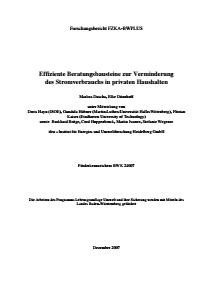 Bild der Titelseite der Publikation: Effiziente Beratungsbausteine zur Minderung des Stromverbrauchs in privaten Haushalten