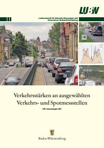 Bild der Titelseite der Publikation: Verkehrsstärken an ausgewählten Verkehrs- und Spotmessstellen. Auswertungen 2013