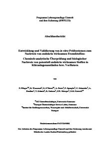 Bild der Titelseite der Publikation: Entwicklung und Validierung von in vitro Prüfsystemen zum Nachweis von endokrin wirksamen Fremdstoffen: Chemisch-analytische Überprüfung und biologischer Nachweis von potentiell endokrin wirksamen Stoffen in Kläranlagenausläufen bzw. Vorflutern