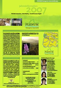 Bild der Titelseite der Publikation: Jahresinformation PLENUM Naturgarten Kaiserstuhl 2007