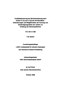 Bild der Titelseite der Publikation: Qualitätssicherung der Berichterstattung nach Artikel 17 (1) und 17 (3) der IVU-Richtlinie - Anforderungen und Möglichkeiten der Nutzung von Genehmigungsdaten der Länder zur Erfüllung der Berichtspflichten