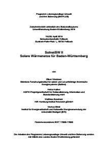 Bild der Titelseite der Publikation: Solare Wärmenetze für Baden-Württemberg (II)