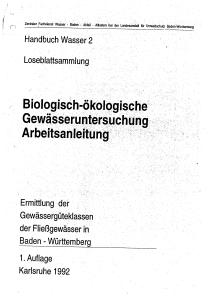 Bild der Titelseite der Publikation: Biologisch-ökologische Gewässeruntersuchung