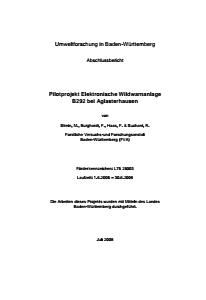 Bild der Titelseite der Publikation: Elektronische Wildwechselwarnanlage B292 bei Aglasterhausen
