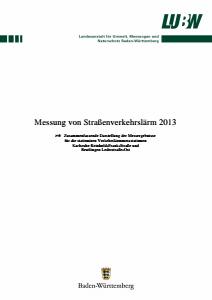 Bild der Titelseite der Publikation: Messung von Straßenverkehrslärm 2013
