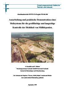 Bild der Titelseite der Publikation: Ausarbeitung und praktische Demonstration eines Meßsystems für die großflächige und langzeitige Kontrolle der Dichtheit von Mülldeponien