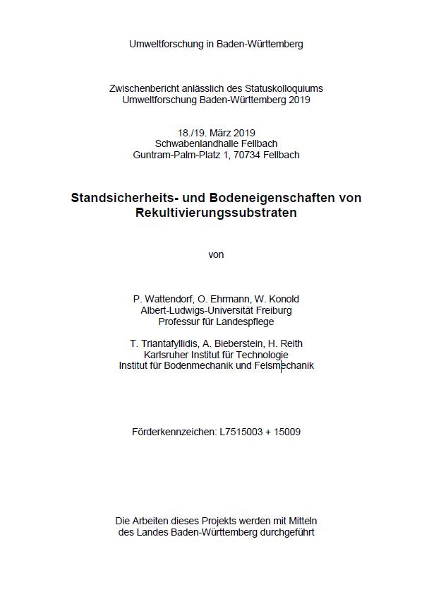 Bild der Titelseite der Publikation: Standsicherheits- und Bodeneigenschaften von Rekultivierungssubstraten