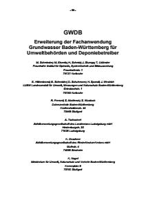 Bild der Titelseite der Publikation: GWDB - Erweiterung der Fachanwendung Grundwasser Baden-Württemberg für Umweltbehörden und Deponiebetreiber