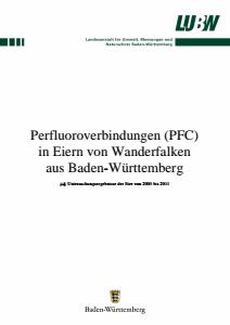 Bild der Titelseite der Publikation: Perfluoroverbindungen (PFC) in Eiern von Wanderfalken aus Baden-Württemberg