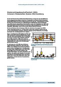 Bild der Titelseite der Publikation: Niederschlagsbeschaffenheit 2004. Intensiv-Messstellen Baden-Württemberg