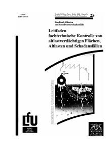 Bild der Titelseite der Publikation: Leitfaden fachtechnische Kontrolle von altlastverdächtigen Flächen, Altlasten und Schadensfällen