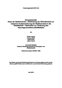 Bild der Titelseite der Publikation: Konzeptstudie Haus der Bioökonomie: Einbindung der Öffentlichkeit zur besseren Implementierung der Bioökonomie in die Gesellschaft
