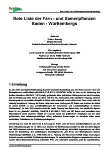 Bild der Titelseite der Publikation: Rote Liste der Farn- und Samenpflanzen Baden-Württemberg