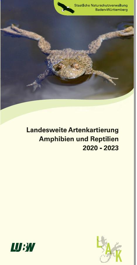 Bild der Titelseite der Publikation: Landesweite Artenkartierung Amphibien und Reptilien 2020 - 2023
