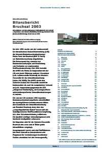 Bild der Titelseite der Publikation: Bilanzbericht Bruchsal 2003 - Ergebnisse vom Intensivmonitoring