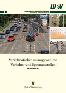 Bild der Titelseite der Publikation: Verkehrsstärken an ausgewählten Verkehrs- und Spotmessstellen. Auswertungen 2012