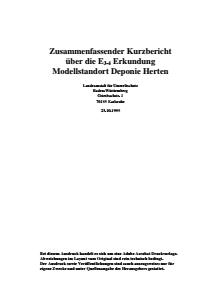 Bild der Titelseite der Publikation: Zusammenfassender Kurzbericht über die E3-4 Erkundung Modellstandort Deponie Herten