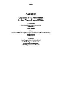 Bild der Titelseite der Publikation: Ausblick - Geplante F+E-Aktivitäten in der Phase II von KEWA