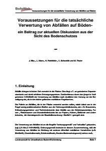 Bild der Titelseite der Publikation: Voraussetzungen für die tatsächliche Verwertung von Abfällen auf Böden