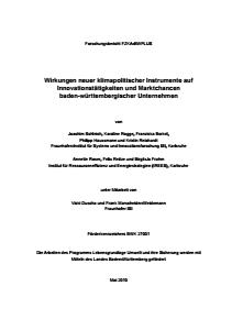 Bild der Titelseite der Publikation: Wirkungen neuer klimapolitischer Instrumente auf Innovationstätigkeiten und Marktchancen baden-württembergischer Unternehmen