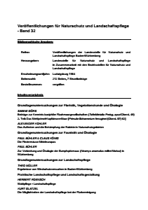 Bild der Titelseite der Publikation: Band 32 - Veröffentlichungen der Landesstelle für Naturschutz und Landschaftspflege Baden-Württemberg