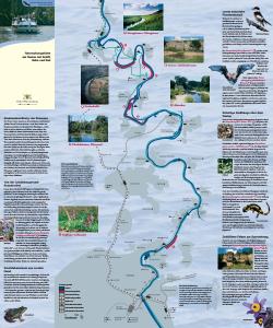 Bild der Titelseite der Publikation: Naturschutzgebiete am Neckar mit Schiff, Bahn und Rad