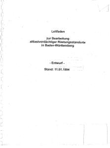 Bild der Titelseite der Publikation: Leitfaden zur Bearbeitung altlastenverdächtiger Rüstungsstandorte in Baden-Württemberg