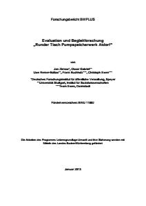 Bild der Titelseite der Publikation: Evaluation und Begleitforschung Runder Tisch Pumpspeicherwerk Atdorf
