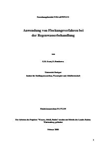 Bild der Titelseite der Publikation: Anwendung von Flockungsverfahren bei der Regenwasserbehandlung