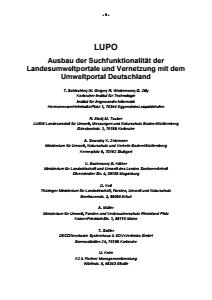 Bild der Titelseite der Publikation: LUPO - Ausbau der Suchfunktionalität der Landesumweltportale und Vernetzung mit dem Umweltportal Deutschland