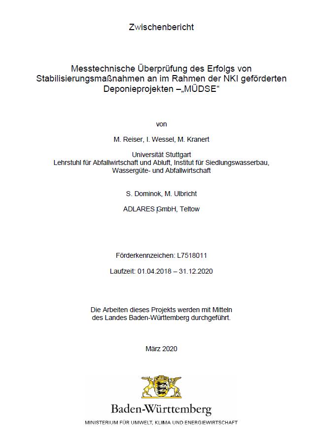 Bild der Titelseite der Publikation: Messtechnische Überprüfung des Erfolgs von Stabilisierungsmaßnahmen an im Rahmen der NKI geförderten Deponieprojekten