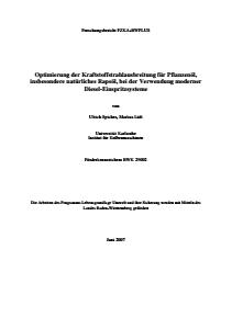 Bild der Titelseite der Publikation: Optimierung der Kraftstoffstrahlausbreitung für Pflanzenöl, insbesondere natürliches Rapsöl, bei der Verwendung moderner Diesel-Einspritzsysteme