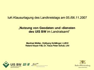 Bild der Titelseite der Publikation: IuK-Klausurtagung 2007 des LKT - Nutzung von Geodaten