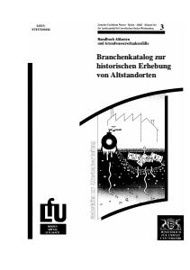 Bild der Titelseite der Publikation: Branchenkatalog zur historischen Erhebung von Altstandorten