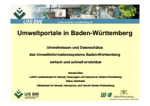 Bild der Titelseite der Publikation: Umweltportale Baden-Württemberg (Präsentation auf der Cebit 2011)