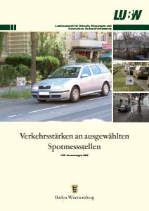 Bild der Titelseite der Publikation: Verkehrsstärken an ausgewählten Spotmessstellen. Auswertungen 2009