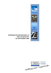 Bild der Titelseite der Publikation: Schimmelpilzmessungen in der Außenluft im September 2004