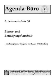 Bild der Titelseite der Publikation: Arbeitsmaterialie 038: Bürger- und Beteiligungshaushalt