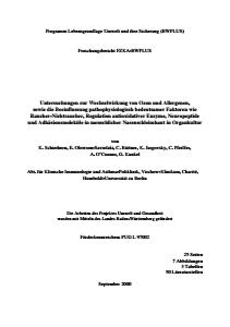 Bild der Titelseite der Publikation: Untersuchungen zur Wechselwirkung von Ozon und Allergenen, sowie die Beeinflussung pathophysiologisch bedeutsamer Faktoren wie Raucher-Nichtraucher, ...