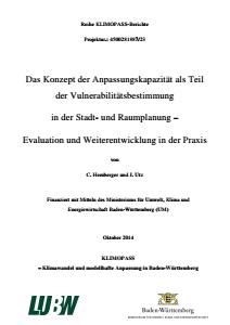 Bild der Titelseite der Publikation: Das Konzept der Anpassungskapazität als Teil der Vulnerabilitätsbestimmung in der Stadt- und Raumplanung - Evaluation und Weiterentwicklung in der Praxis