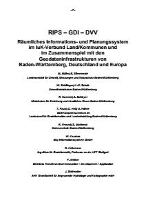 Bild der Titelseite der Publikation: RIPS - GDI - DVV - Räumliches Informations- und Planungssystem im IuK-Verbund Land/Kommunen und im Zusammenspiel mit den Geodateninfrastrukturen von Baden-Württemberg, Deutschland und Europa
