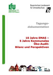 Bild der Titelseite der Publikation: 10 Jahre EMAS - 5 Jahre Kommunales Öko-Audit