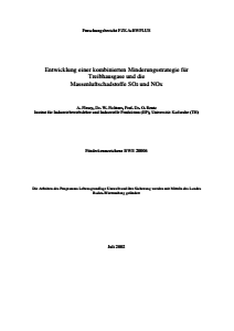 Bild der Titelseite der Publikation: Entwicklung einer kombinierten Minderungsstrategie für Treibhausgase und die Massenluftschadstoffe SO2 und NOX