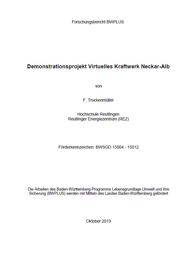 Bild der Titelseite der Publikation: Demonstrationsprojekt Virtuelles Kraftwerk Neckar-Alb
