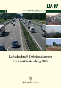 Bild der Titelseite der Publikation: Luftschadstoff-Emissionskataster Baden-Württemberg 2010